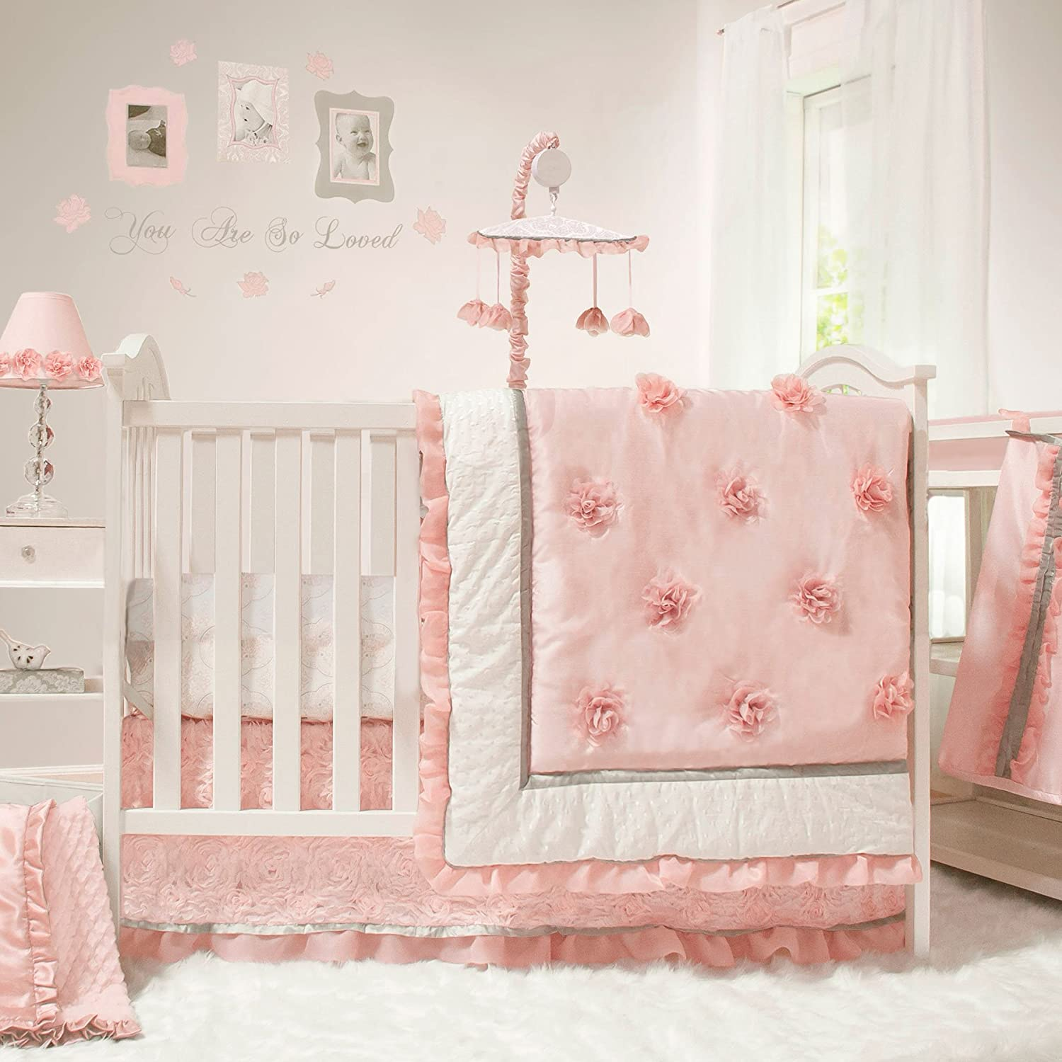 Amazon Com Arianna 4 Piece Pink Floral Baby Crib Bedding Set By The Peanut Shell Baby