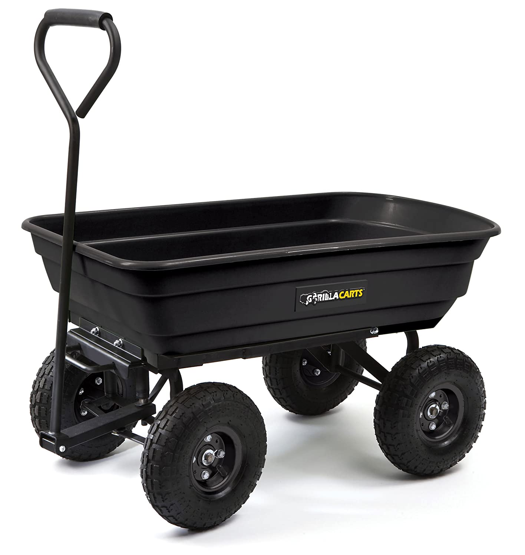 Gorilla Carts GOR200B Poly Garden Dump Cart with Steel Frame