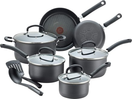 T-fal E765SC Ultimate Hard Anodized Nonstick 12 Piece Cookware Set, Dishwasher Safe Pots and Pans Set, Black