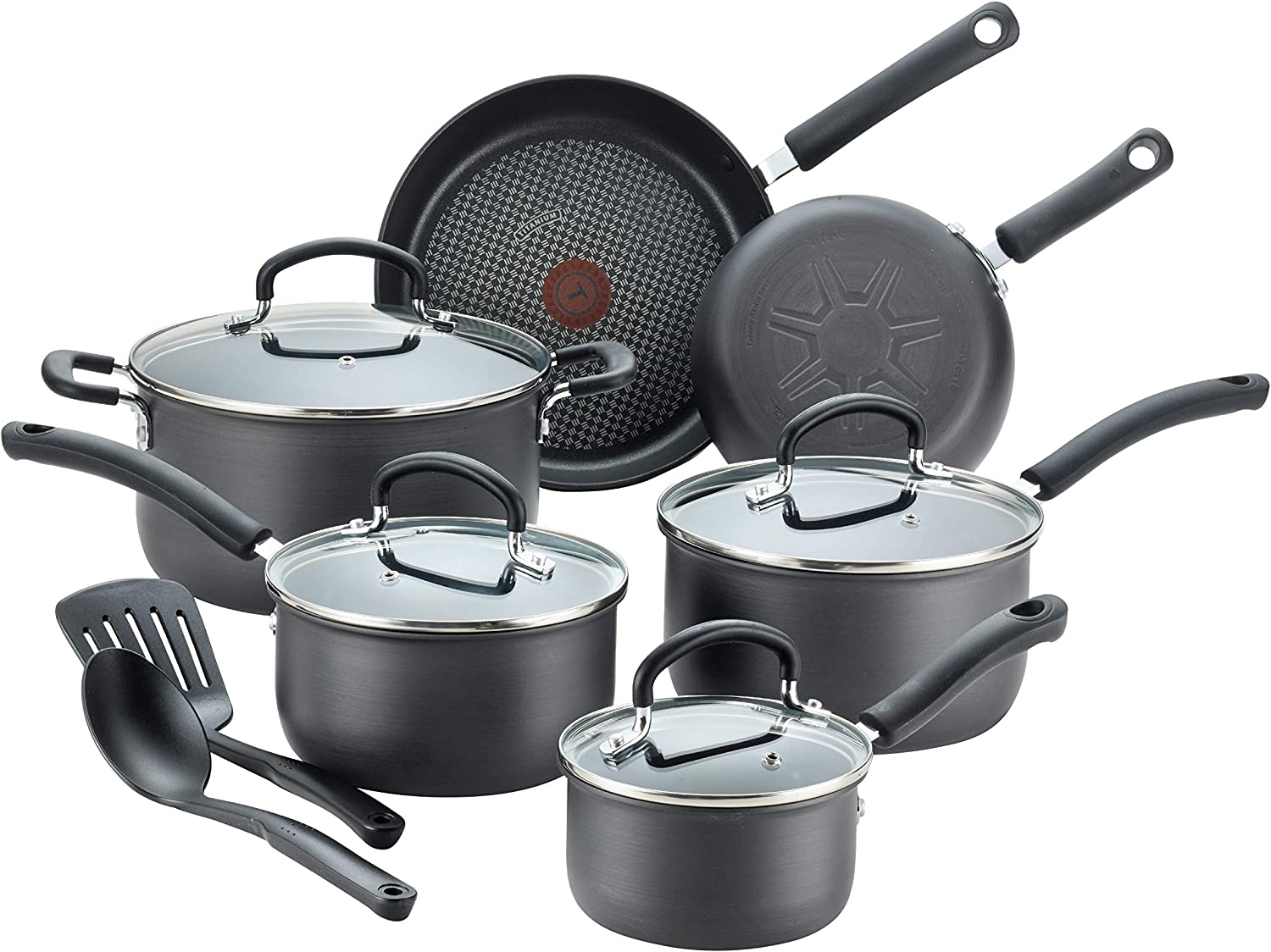 T-fal E765SC Ultimate Hard Anodized Nonstick 12 Piece Cookware Set, Dishwasher Safe Pots and Pans Set, Black