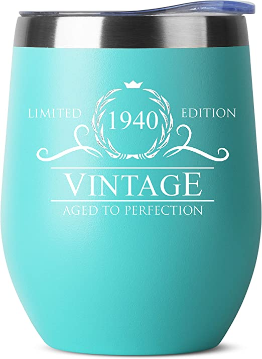 Amazon Com 1940 80th Birthday Gifts For Women Men 12 Oz Mint Insulated Stainless Steel Tumbler W Lid Vintage 80 Year Old Best Gift Present Ideas For Him Her