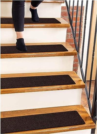 Carpet Stair Treads Non Slip 8 X30 Brown 15 Pack Runners For | Stair Runners For Carpeted Stairs | Round Corner | Marble | Hardwood | Commercial | Tile Stair