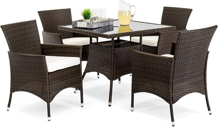 Amazon Com Best Choice Products 5 Piece Indoor Outdoor Wicker Dining Set Furniture For Patio Backyard W Square Glass Table Top Umbrella Cutout 4 Chairs Cream Garden Outdoor