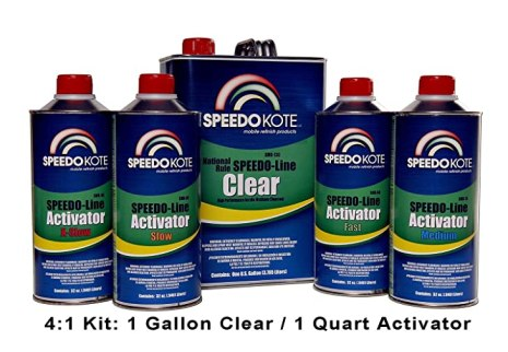 SpeedoKote SMR-130/75-K-M - Automotive Clear Coat Fast Dry 2K Urethane, 4:1 Gallon Clearcoat Kit w/Medium Act.