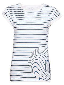 Ladies TARDIS Swirl Doctor Who T Shirt from BBC Worldwide, White/Off White (Small)
