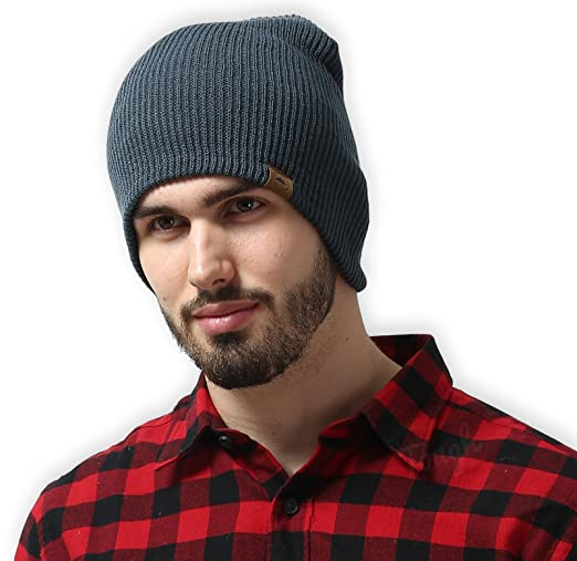 Daily Knit Ribbed Beanie by Tough Headwear - Warm, Stretchy & Soft Beanie Hats for Men & Women - Year Round Comfort - Serious Beanies for Serious Style,Dark Gray,OSFM