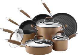 Anolon Advanced Hard Anodized Nonstick Cookware Pots and Pans Set, 11 Piece, Bronze