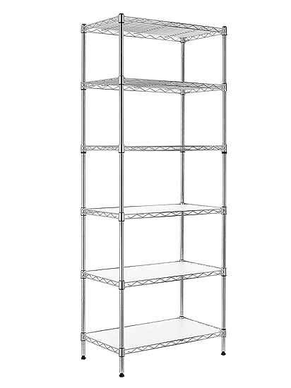 Finnhomy 6 Tier Wire Shelving Unit Adjustable Steel Wire Rack Shelving 6 Shelves Steel Storage