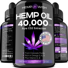 Hemp Oil Extract – 40,000 Milligrams – Improved Formula – Made in USA – 100% Pure Hemp Oil for Stress & Anxiety – Doctor Recommended Natural Sleep Aid, Mood & Immunity Boost – Raw Omega 3, 6, 9