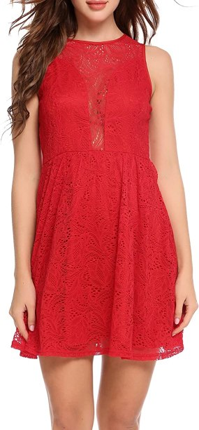 Zeagoo Women's Sexy Sleeveless Lace Hollow Out Short Dress (Small, Orange Red)