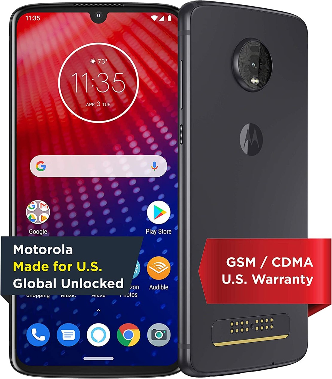 Moto Z4 with Alexa Hands-Free (Moto 360 camera included) – Unlocked – 128 GB – Flash Gray