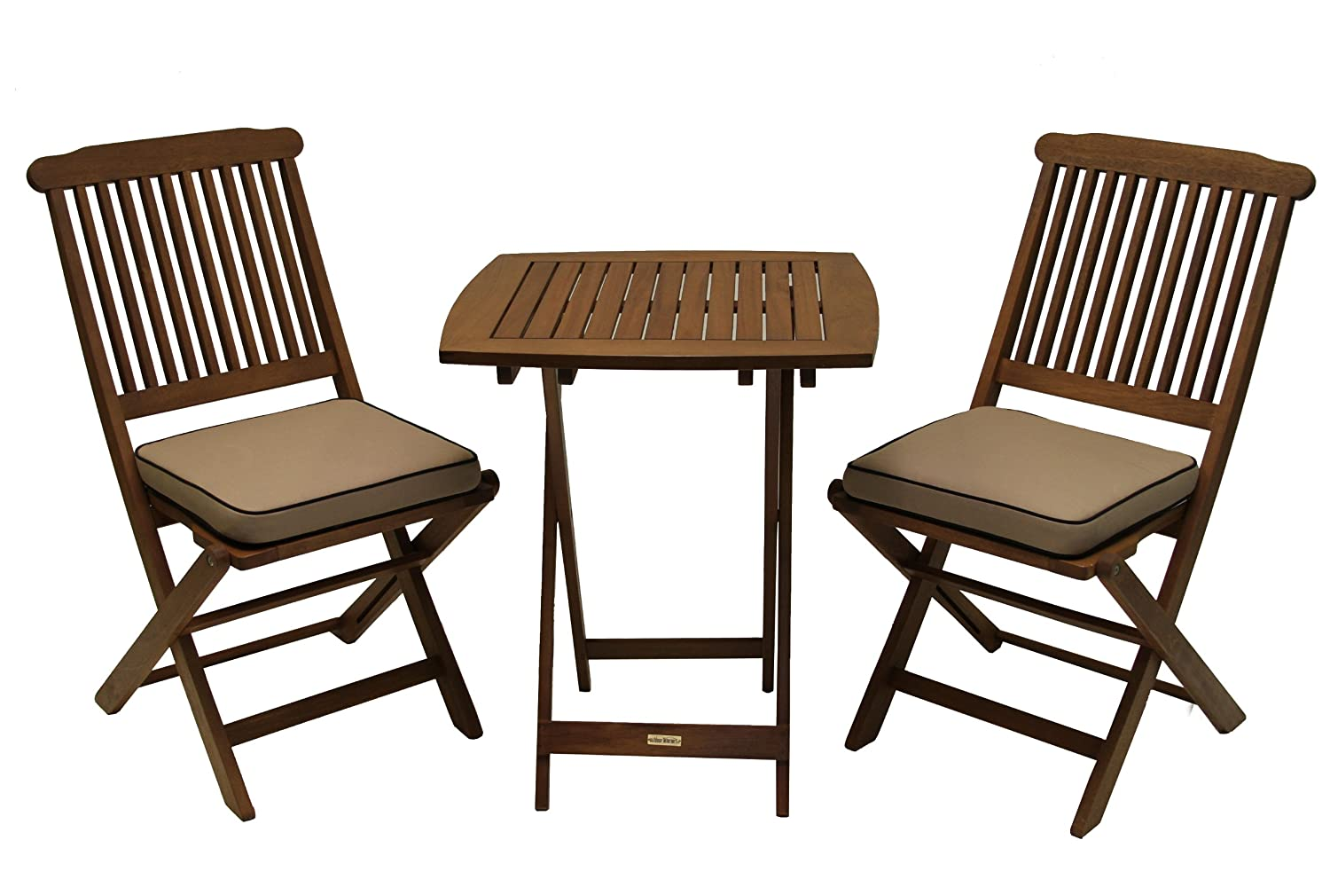 Amazon.com : 3 Piece Square Bistro Outdoor Furniture Set The bistro set we keep on the cockpit of our boat. Folds up nicely, seems solid and fits great in a small space!
