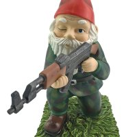Military Garden Gnome with an AK47 | Funny Army Statue, Perfect for Gun Lovers, Military Collectors, Combat Enthusiasts & Army Men | Indoor & Outdoor Lawn Yard Décor