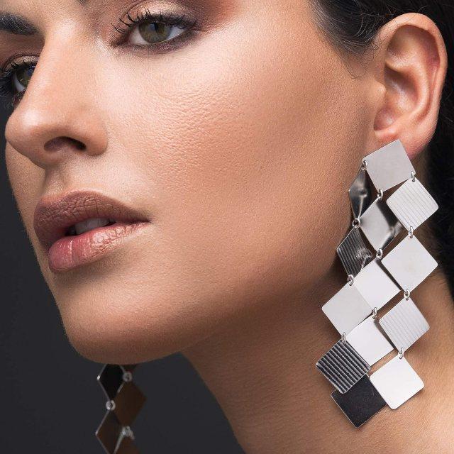 Amazon.com: Large statement earrings silver gift, big earrings long earrings,  sterling silver earrings geometric earrings, unusual earrings bohemian  earrings: Handmade