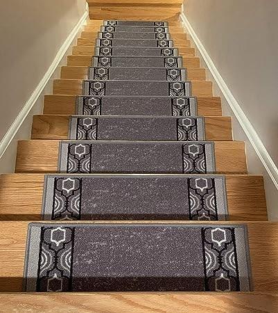 Stair Treads Skid Slip Resistant Backing Indoor Carpet Stair | Black Carpet Stair Treads | Bullnose | Padded | Stair Runner | Staircase | Non Slip Stair Tread