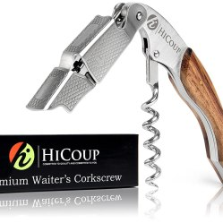 Waiters Corkscrew by HiCoup – Professional Grade Natural Rosewood All-in-one Corkscrew, Bottle Opener and Foil Cutter