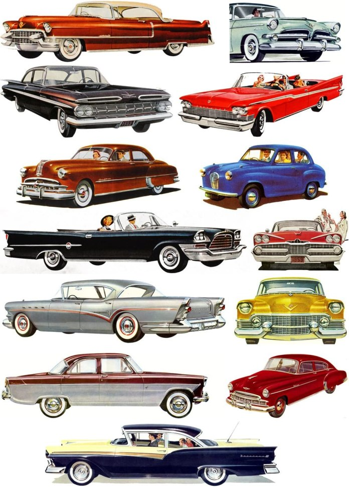 Amazon Com Waterslide Decals Each Decal 1 5 X3 5 Pack 13 Pcs Classic Cars America Fifties Ford Chevy Cadillac Flonz Vintage
