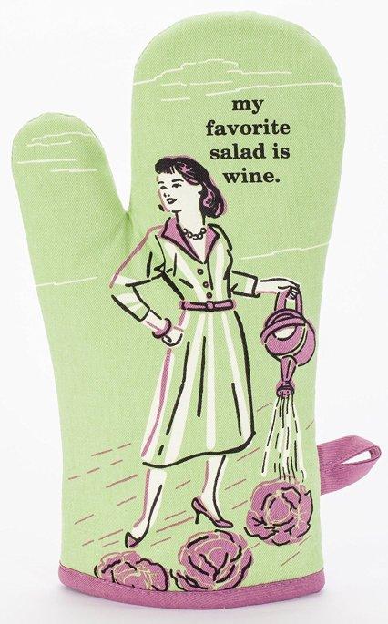 Blue Q Oven Mitt - My favorite salad is wine
