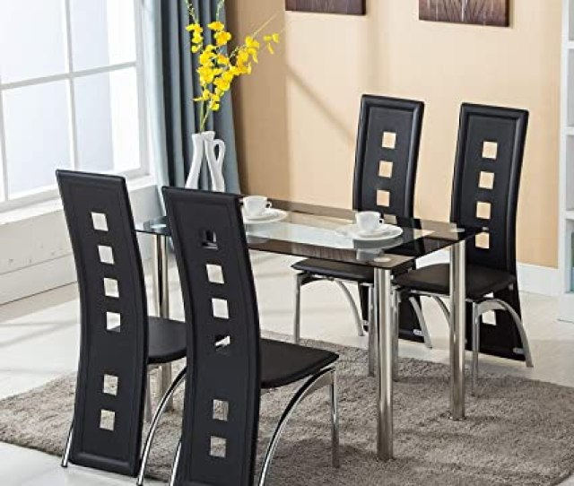 Amazon Com Mecor Dining Room Table Set 5 Piece Glass Kitchen Table And Leather Chairs Kitchen Furnitureblack Table Chair Sets