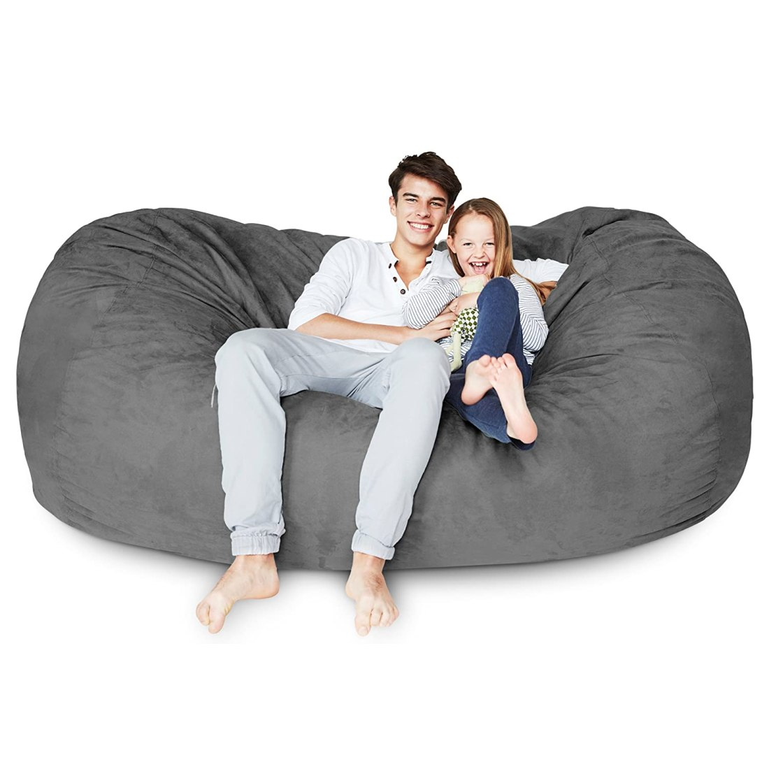 Man Sitting On Flash Furniture Bean Bag Chair