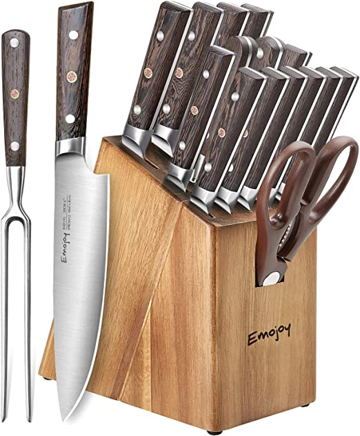 Amazon Com Knife Set 16 Piece Kitchen Knife Set With Carving Fork Precious Wengewood Handle For Chef Knife Set With Block German Stainless Steel Emojoy Kitchen Dining