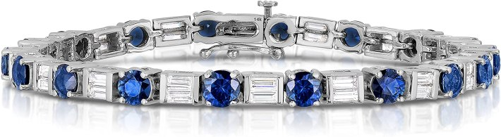 Unique Royal Jewelry 14K White Gold Natural Sapphire and Diamond Bracelet, 7 in.