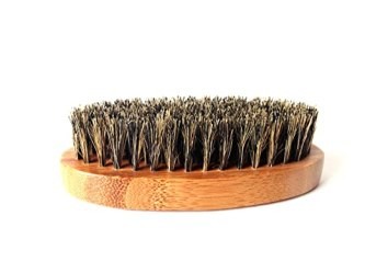 100% Boar Hair Bristle Beard Brush: Military Round Bamboo for Men Brush Strokes. Great to Use with Facial Hair Beard Oil, Balm and Conditioners, Use with Dry or Wet Beards (Military - Hard)