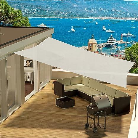 Tenda A Vela Telo Da Sole Da Esterno Protezione Solare Da Raggi Uv Completo Di Funi Per Ancoraggio Colore Avorio Quadrata 5x5 M