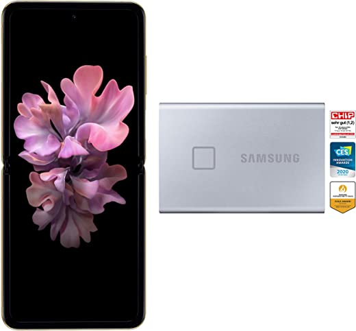 Samsung Galaxy Z Flip (Gold, 8GB RAM, 256GB Storage)-Samsung T7 Touch 1TB USB 3.2 Gen 2 (10Gbps, Type-C) External Solid State Drive (Portable SSD) Silver (MU-PC1T0B)