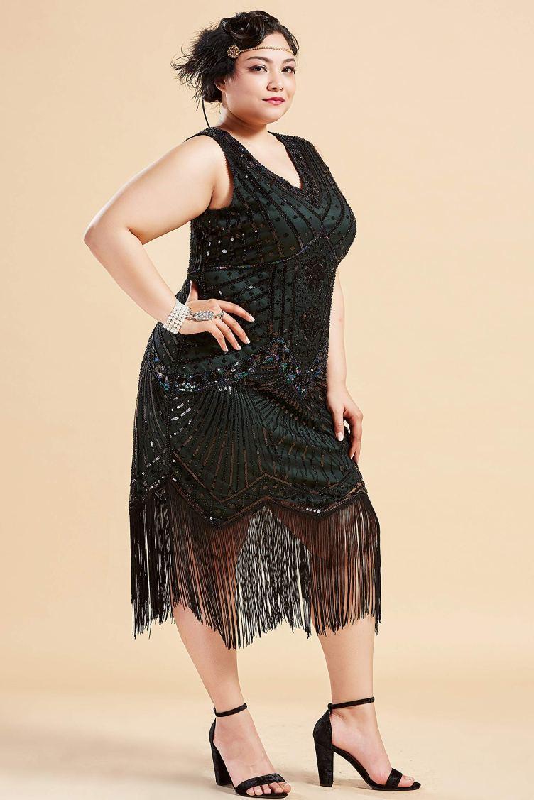 BABEYOND Women's Plus Size Flapper Dresses 1920s V Neck ...