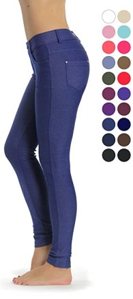 Prolific Health Women's Jean Look Jeggings Tights Yoga Many Colors Spandex Leggings Pants S-XXL (Small, Dark Blue)