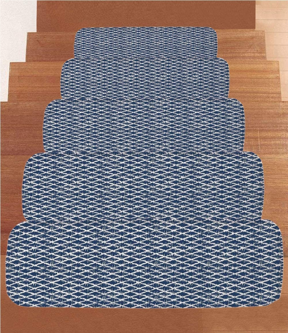 Amazon Com Sosung Indigo Coral Fleece Stair Treads Stair Tread | Zig Zag Carpet On Stairs | Mohawk Patterned Carpet | Stair Triangular Landing | Before And After | American Style | Silver Grey