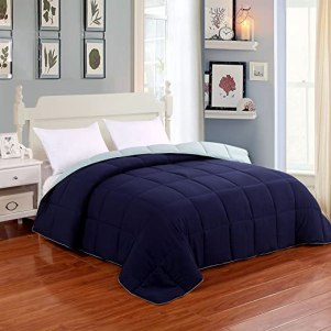 Homelike Moment Down Alternative Reversible Comforter Twin All Season Lightweight Duvet Insert Microfiber Comforter Navy/Light Blue Twin/Twin XL Size With Corner Tabs Hypoallergenic
