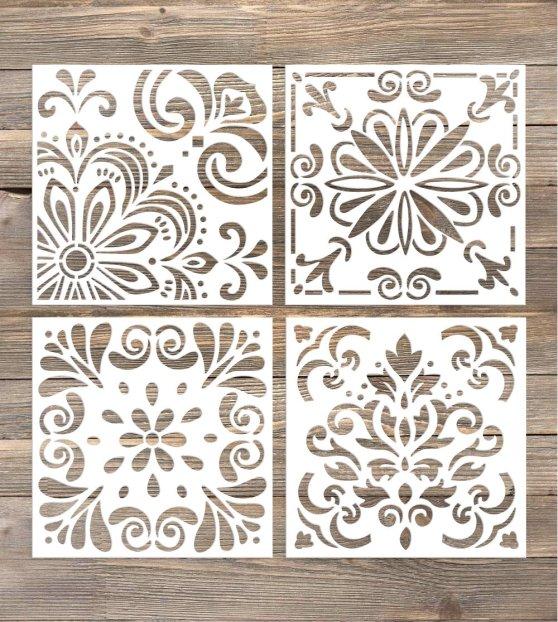 DIY farmhouse painted floors kitchen floor tile stencil