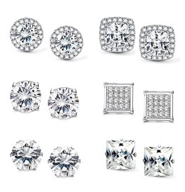 Jstyle Halo Cubic Zirconia Stud Earrings for Women Girls Clear CZ Round Square Stud Earrings Set Ear Jewelry