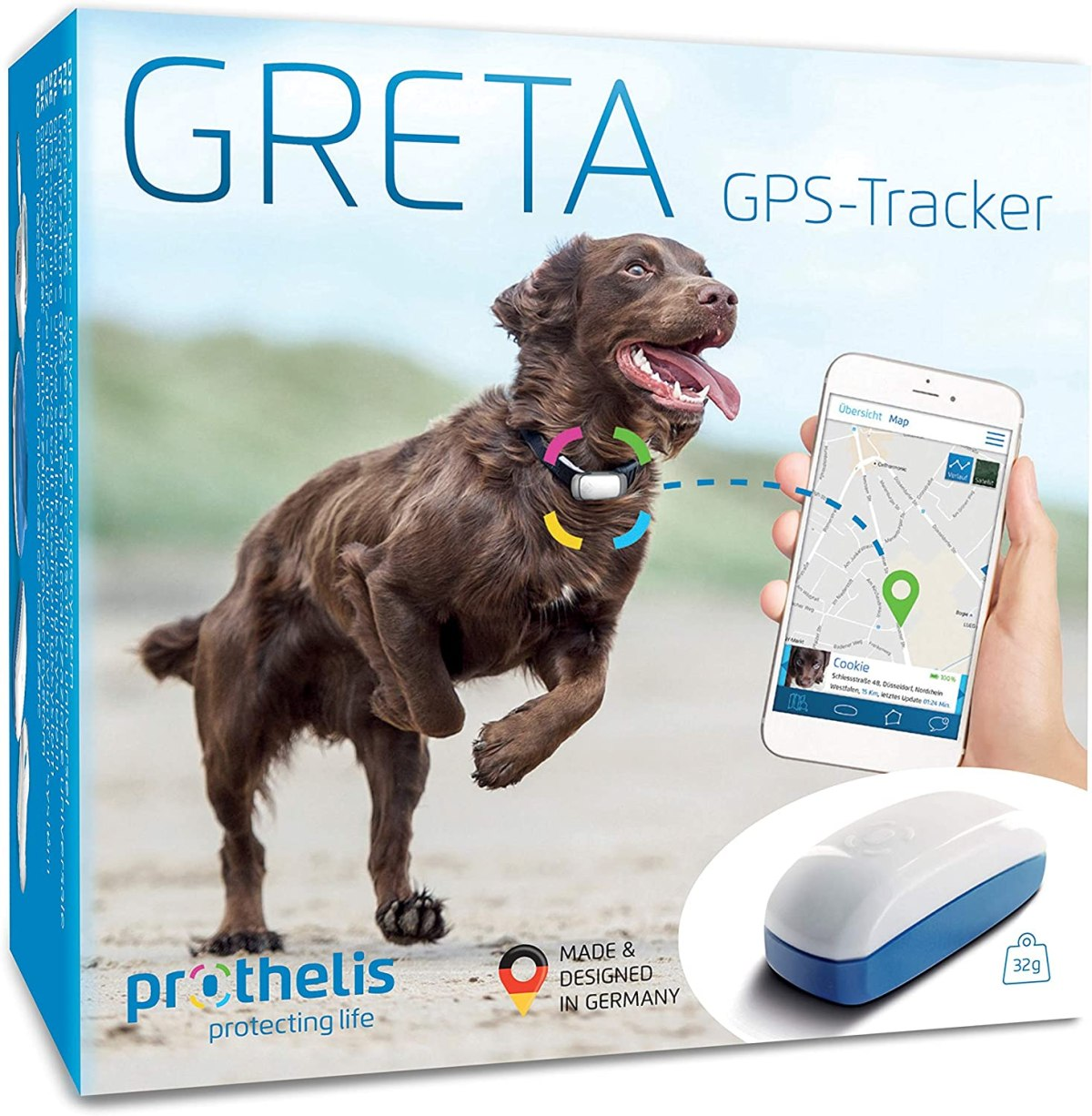 Prothelis - Rastreador GPS (Dispositivo de localización) para la localización de Animales, Personas, Maletas, etc.