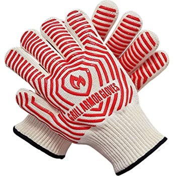 Grill Armor 932°F Extreme Heat Resistant Oven Gloves - EN407 Certified BBQ Gloves For Cooking, Grilling, Baking, Red, One Size Fits Most