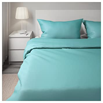 Neuf Ikea Gaspa Turquoise King Housse De Couette 2 Taies D