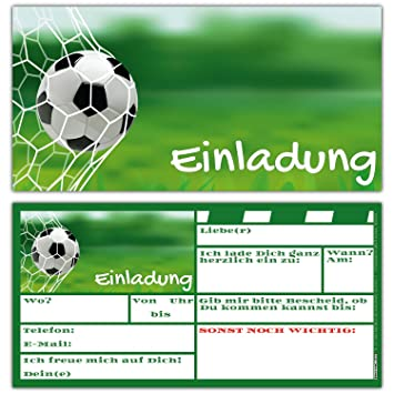Breitenwerk 12 Er Karten Set Fussball Einladungen Zum Kindergeburtstag Oder Fußball Party Einladungskarten Für Jungen Mädchen Und Erwachsene