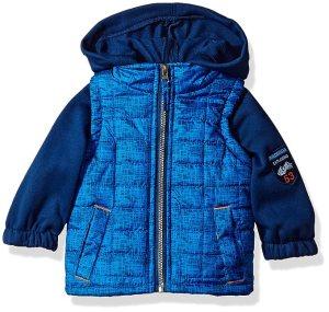 iXtreme Baby Boys Infant Tonal Print Vest W/Fleece Hood &Sleeve, Royal, 12M