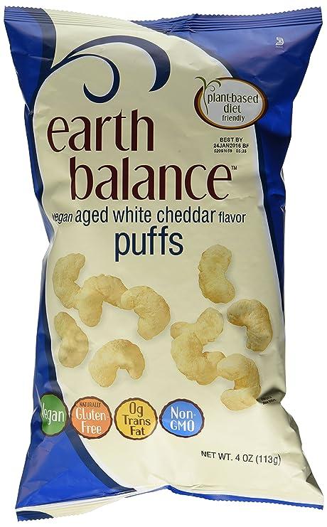 Earth Balance Gluten Free Vegan Aged White Cheddar Puffs 4 Oz (3 Pack)