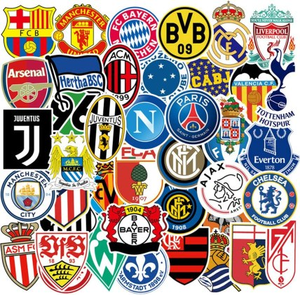 Amazon.com: Football Club Logo Laptop Stickers,50psc Soccer Club ...