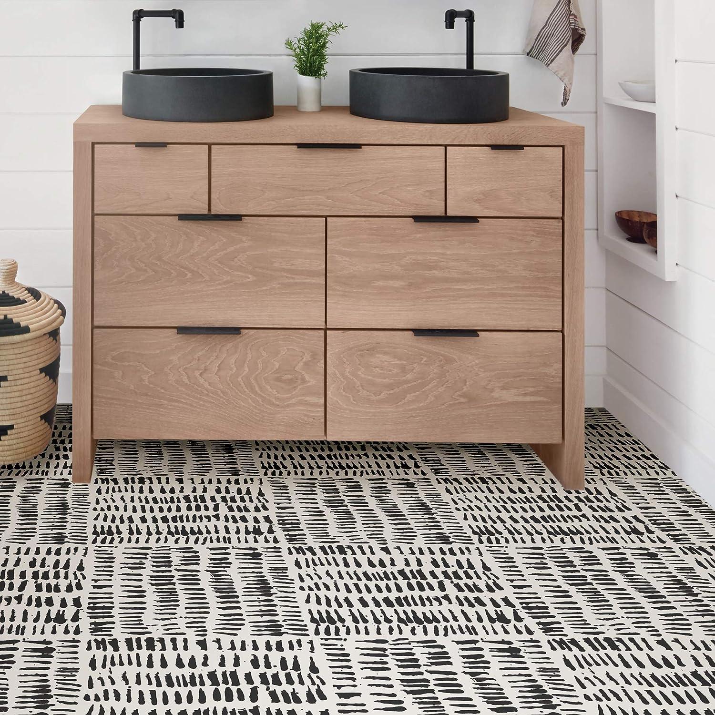 Floorpops Fp2945 Noleby Peel Stick Floor Tile Black 10 Vinyl Flooring Amazon Canada