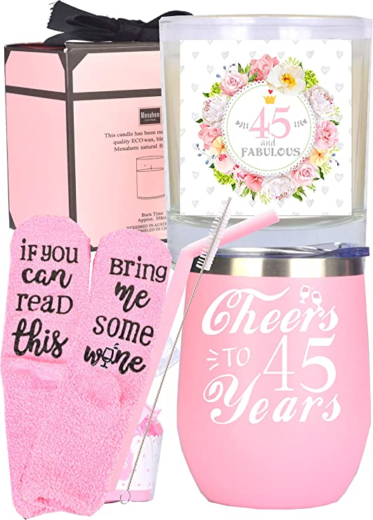 Amazon Com 45th Birthday Gifts For Woman 45 Birthday Decorations For Her 45th Birthday Gift Ideas I M 45 Best Turning 45 Year Old Birthday Gift Ideas For Her 45th Birthday Cup 45