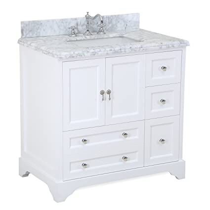 Madison 36 Inch Bathroom Vanity Carrara White Includes Italian Carrara Marble
