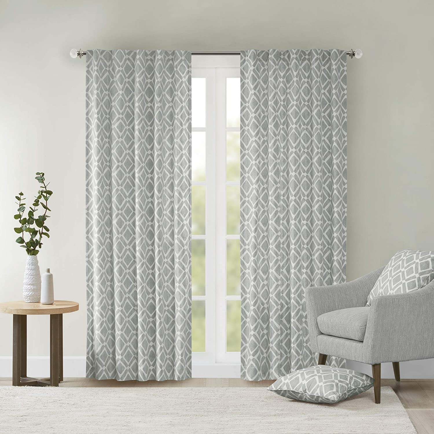 Amazon Com Grey Curtains For Living Room Modern Contemporary Fabric Window Curtains For Bedroom Delray Diamond Print Rod Pocket Modern Window Curtains 42x84 1 Panel Pack Home Kitchen