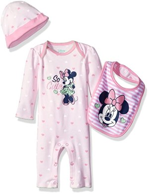 Disney Baby Girls' Minnie Mouse Coverall, Hat, and Bib Set, Pink, 6-9 Months