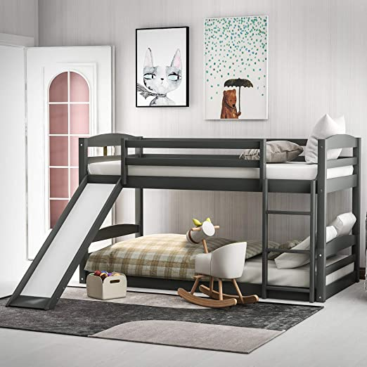 Amazon Com Twin Over Twin Bunk Bed With Slide Wood Twin Low Bunk Bed For Kids With Built In Ladders Grey Kitchen Dining