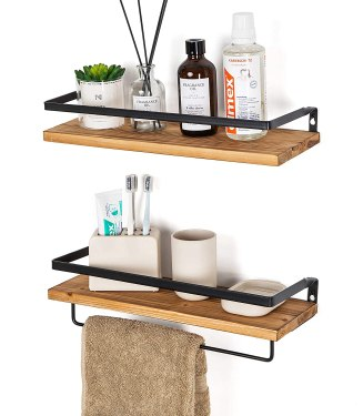 floating shelves are one of the best small bathroom storage ideas, especially if you don't have the space for an over the toilet shelf.