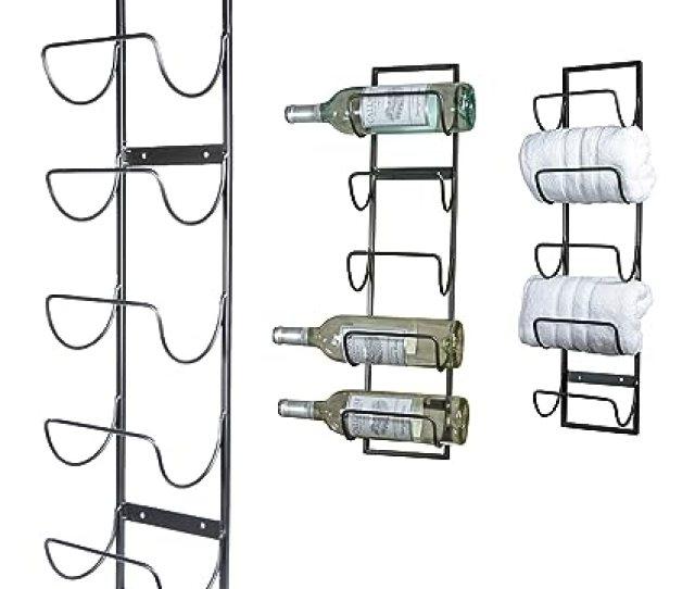Amazon Com 5 Bottle Wall Mounted Metal Wine Rack Towel Rack Home Kitchen